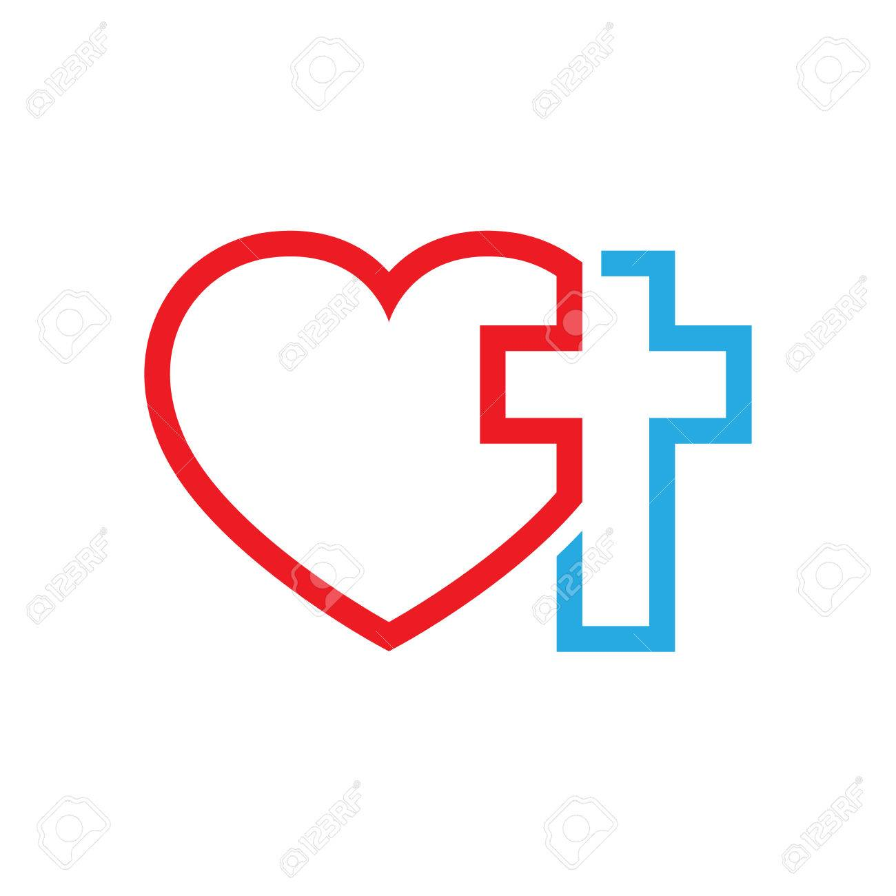 Christian cross and silhouette of heart. Symbol of christian...