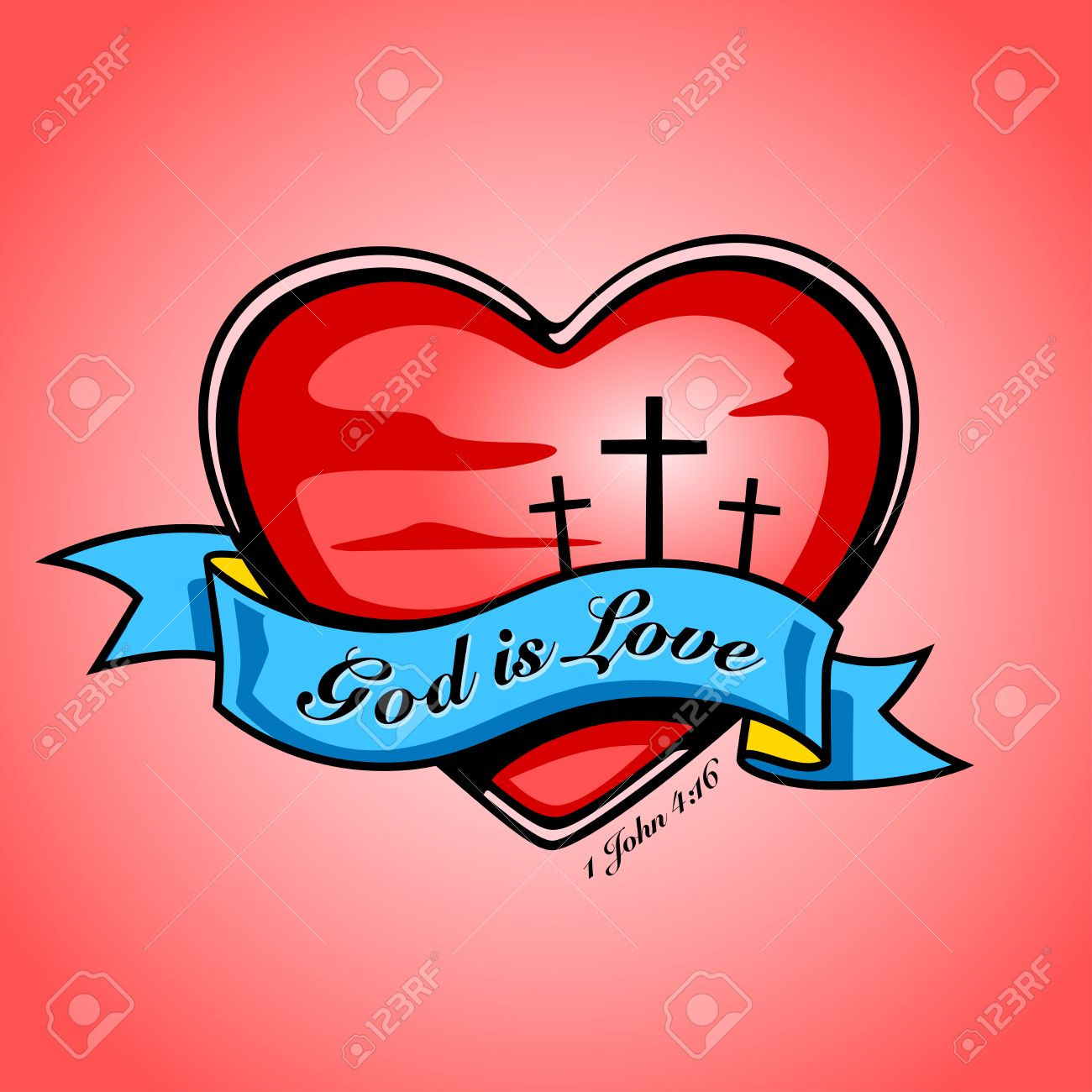 Christian crucifixion cross inside red heart and blue banner...