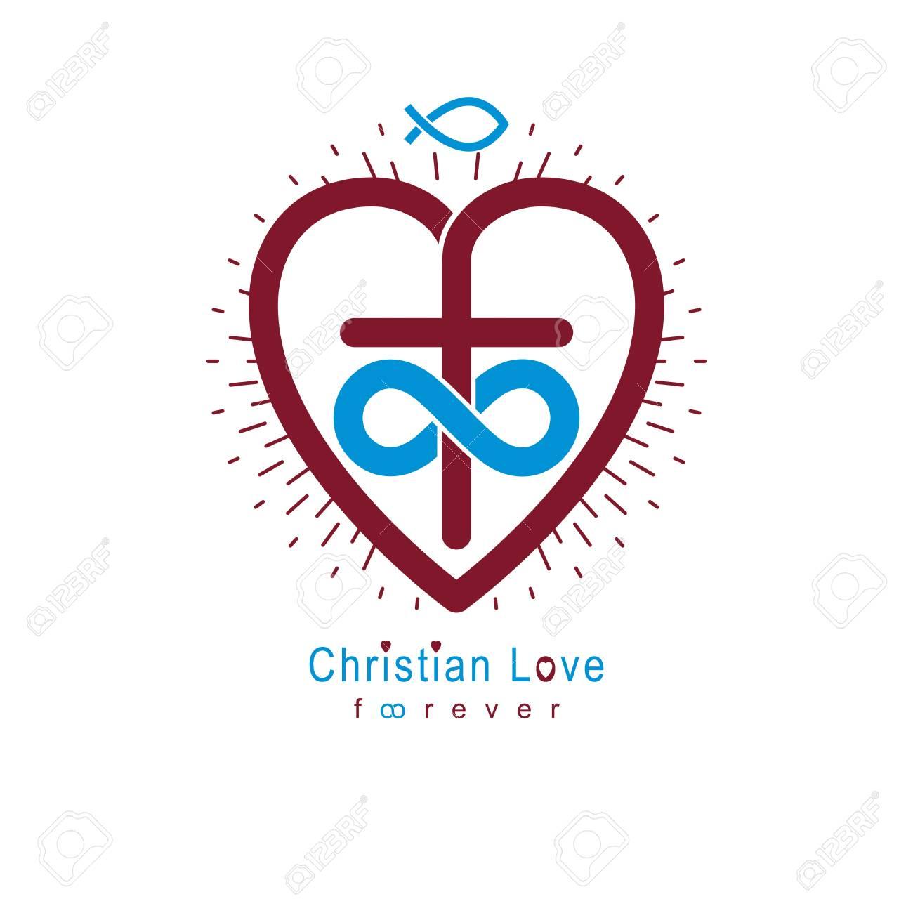 True Infinite Christian Love and Belief in God, vector creative...