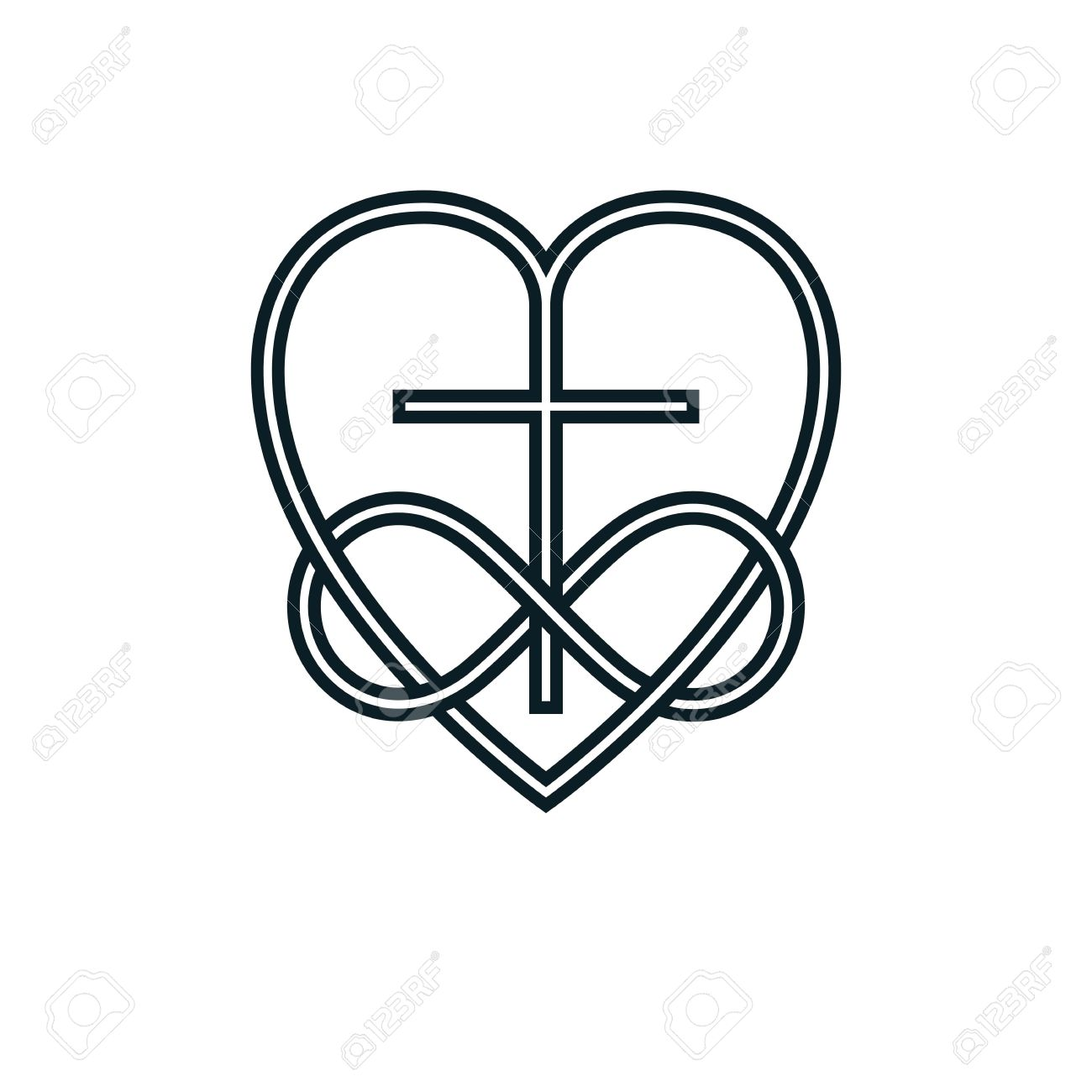 Immortal God Christian Love conceptual logo design combined with...