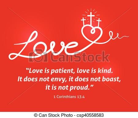 Christian Love scripture with heart and cross on red background.