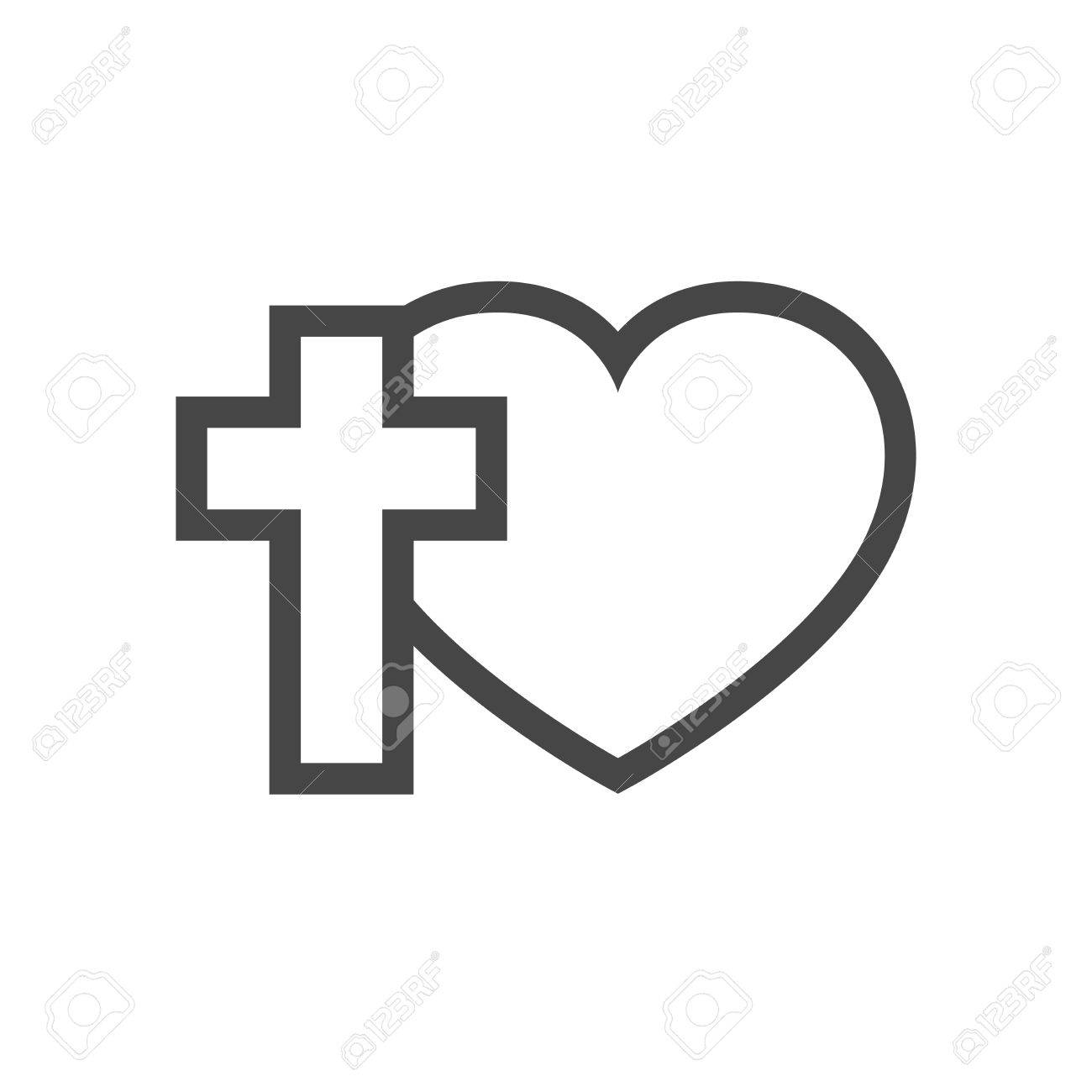 Christian cross and silhouette of heart. Gray symbol of christian...