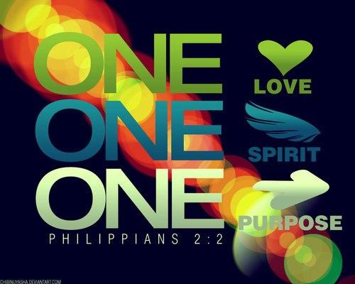 One.Philippians 2:2.