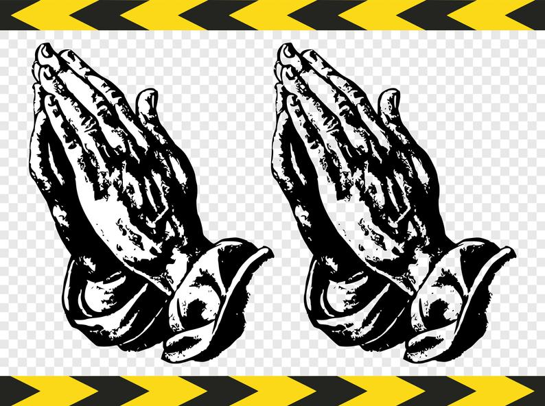 Christian Svg Pray Prayer Praying hands Clipart Dxf Pdf Png files.
