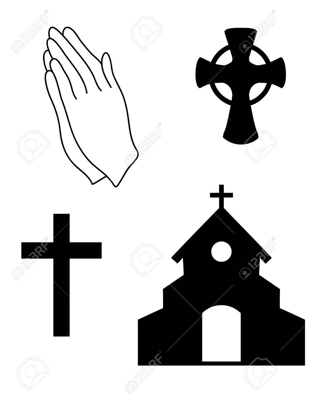 vector illustration of Christian faith, church symbols. Praying...