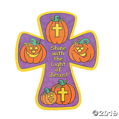 Color Your Own! Christian Pumpkin Crosses.