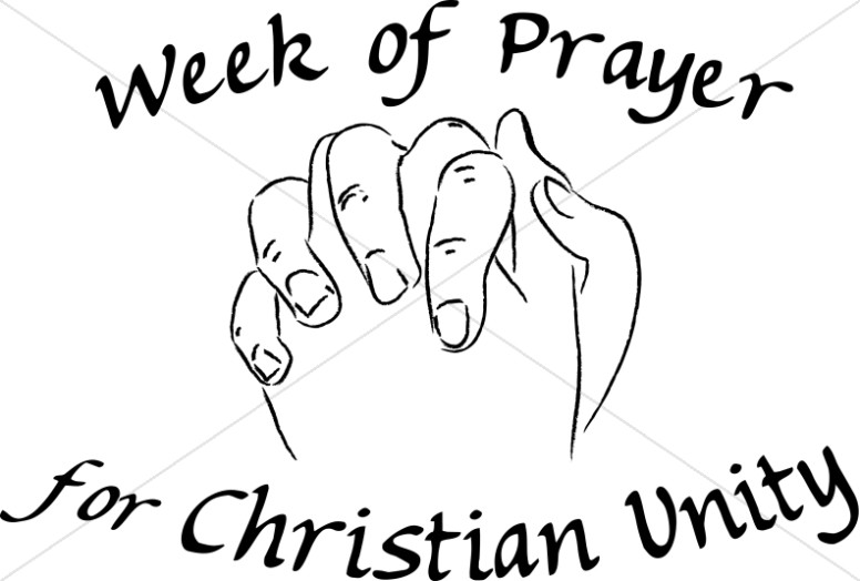 Praying Hands Christian Unity Black and White.
