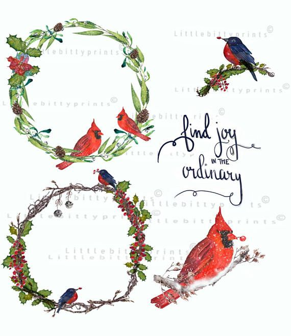 Watercolor Wreaths birds Cliparts .Winter Christmas Clipart.