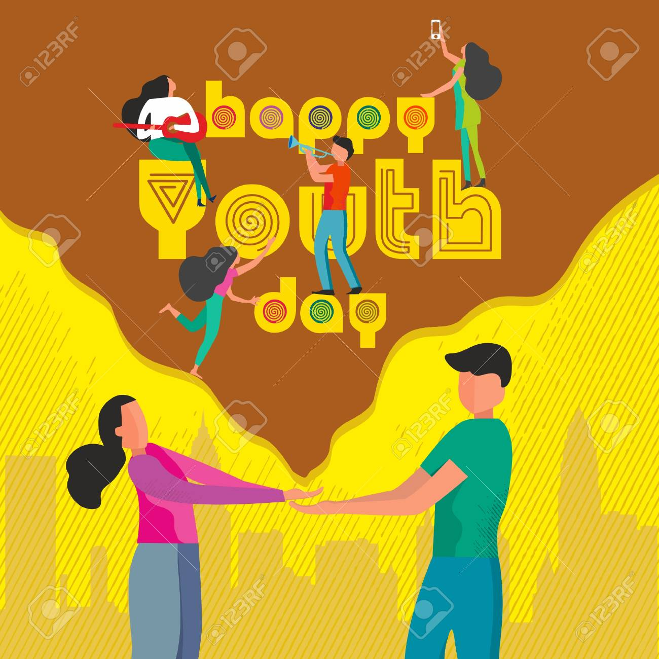 Happy Youth Day Celebration with young Boy and Girl.