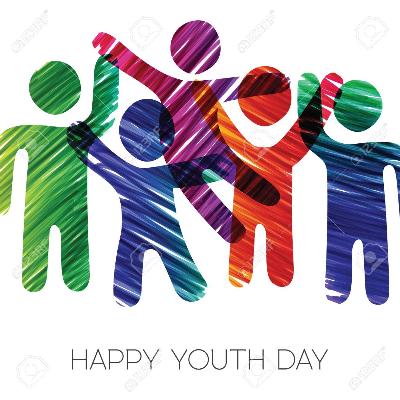 Happy Youth Day greeting card illustration. Fun teen group in...