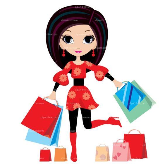 Shopping Girl Clip Art.