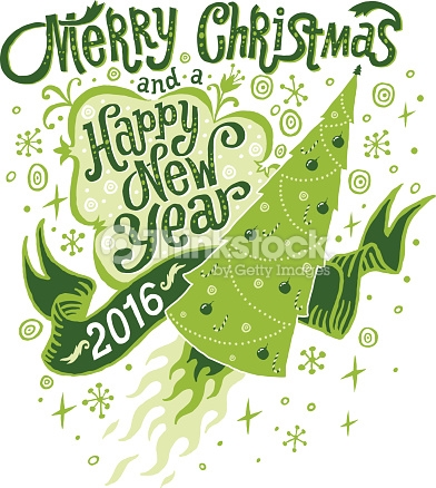 Merry Christmas And Happy New Year 2016 Greeting Card Vector Art.