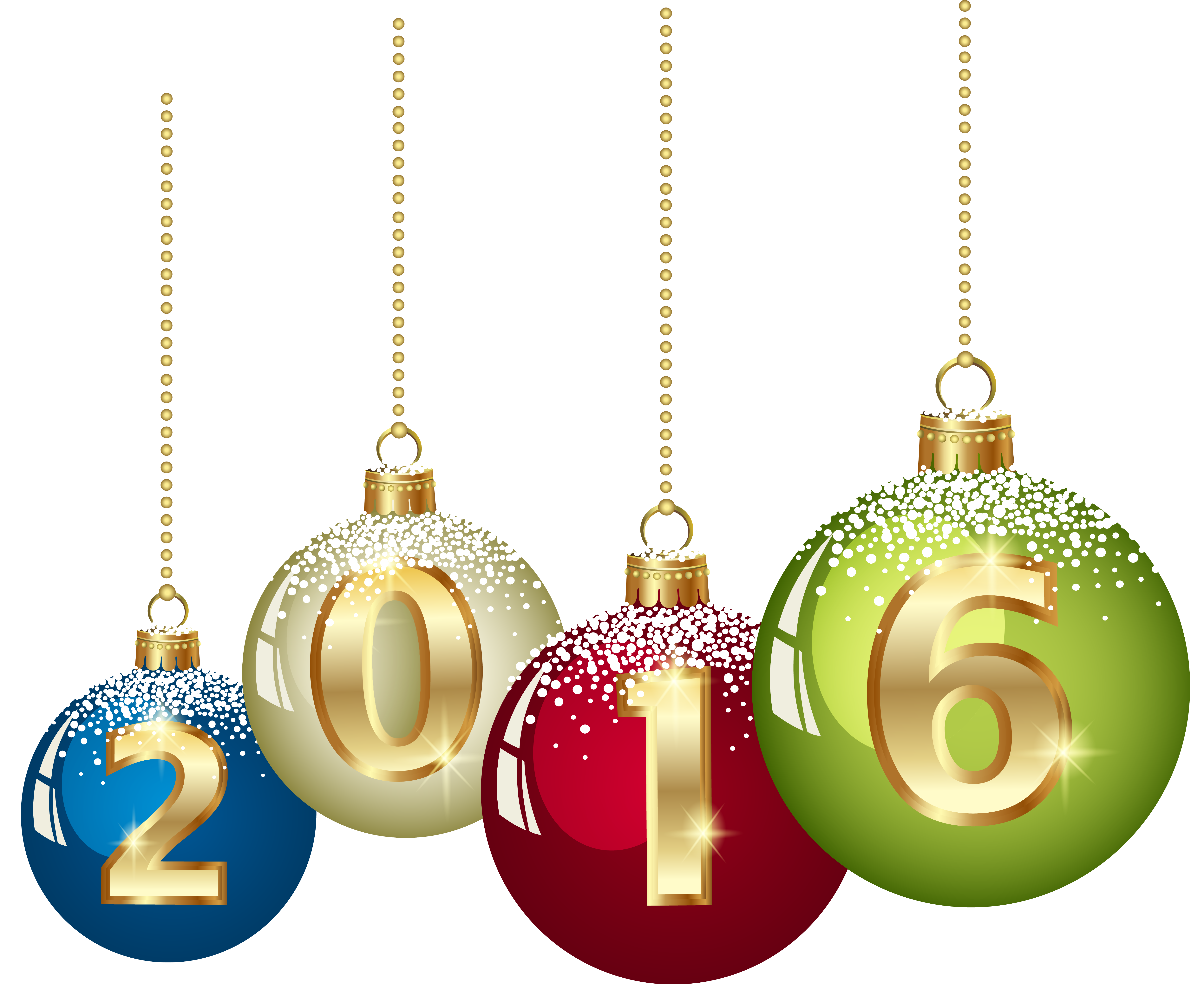2016 Christmas Balls PNG Clipart Image.