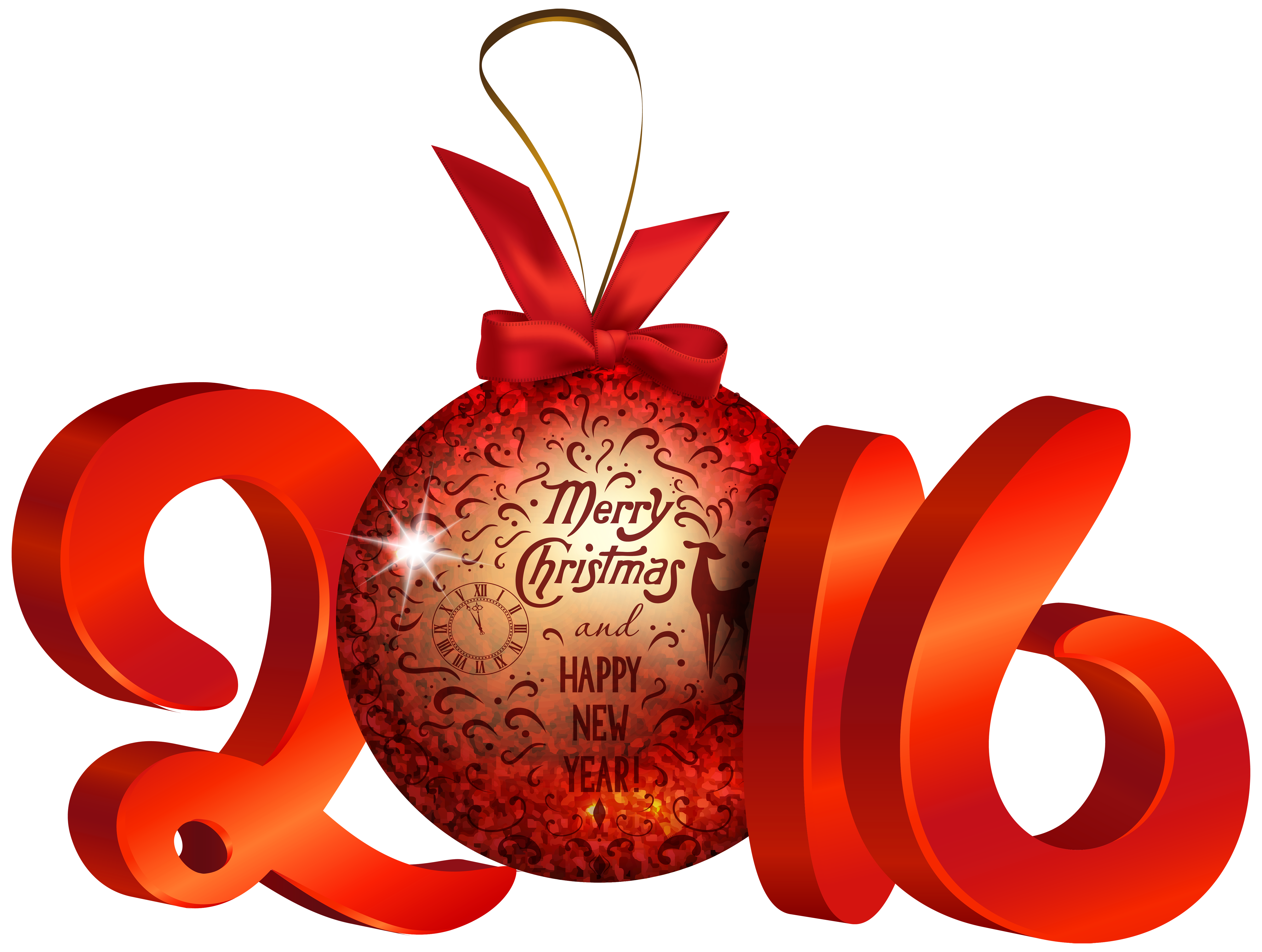 Red 2016 Decoration PNG Clipart Image.