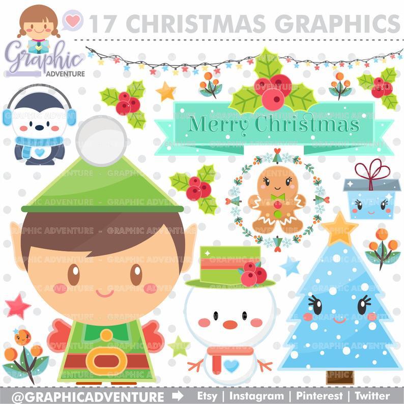 Christmas Clipart, Christmas Graphics, Christmas Clip Art, COMMERCIAL USE,  Kawaii Clipart, Planner Accessories, Elf Graphics, Elf Clip Art.