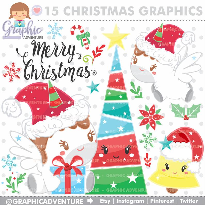 Christmas Clipart, Christmas Graphic, Unicorn Clipart, COMMERCIAL USE,  Kawaii Clipart, Planner Accessories, Bell Clipart, Christmas Party.