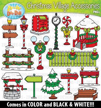 Christmas Village Winter Accessories Clipart {Zip.