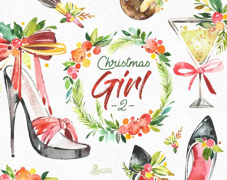Christmas Girl 2. Watercolor holiday clipart, lady, vintage, florals,  wreath, shoes, party, sexy, accessories, xmas, merry, holly, greeting.