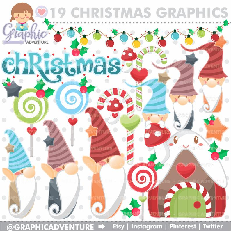 Christmas Clipart, Christmas Graphics, Gnome Clipart, Gnome Graphic,  COMMERCIAL USE, Kawaii Clipart, Planner Accessories, Christmas.