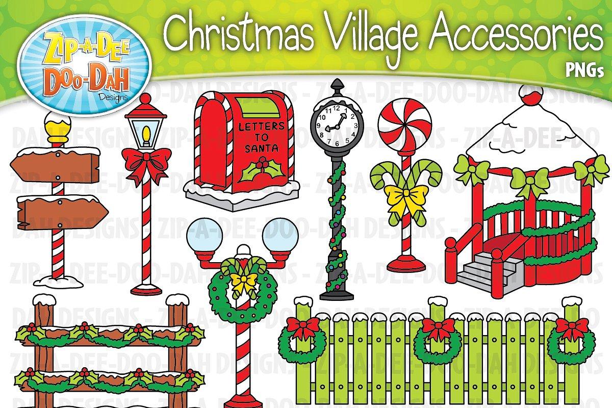 Christmas Village Props Clipart Set.