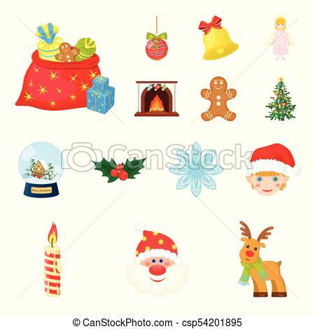 Christmas attributes and accessories cartoon icons in set collection for  design. Merry Christmas vector symbol stock web illustration..
