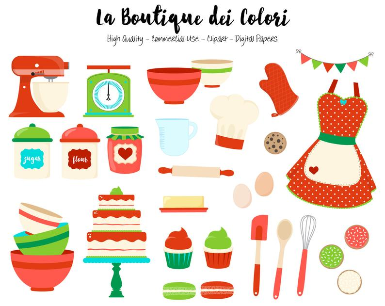 Christmas Baking Clipart, Cute Graphics PNG, Red and GreenVintage Bakery,  Cooking, cake, cookies Clip art, Planner Stickers Commercial Use.