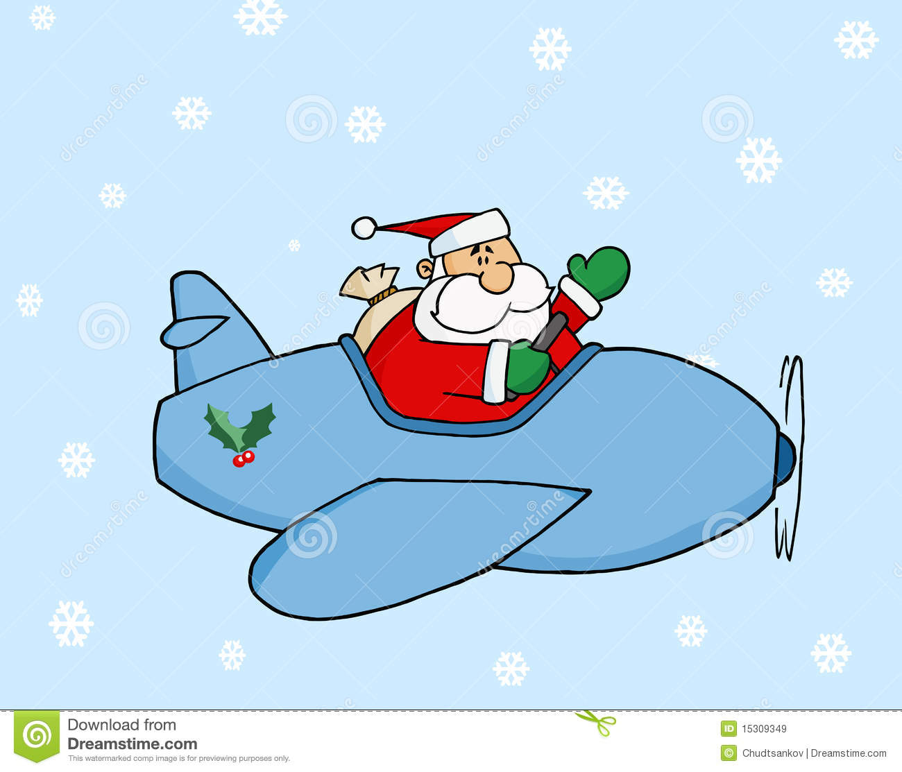 Santa Flying In Christmas Airplane Royalty Free Stock Images.
