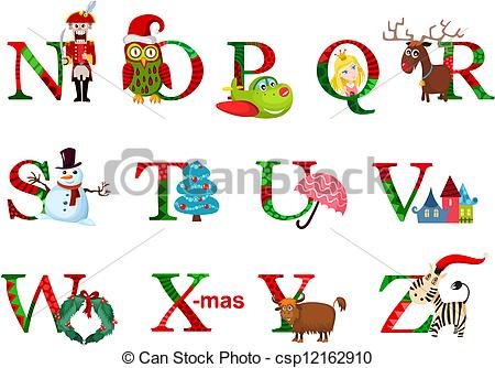 Free Christmas Alphabet Clipart.