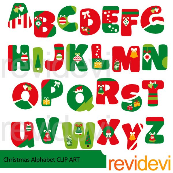 Christmas Alphabet Clipart.