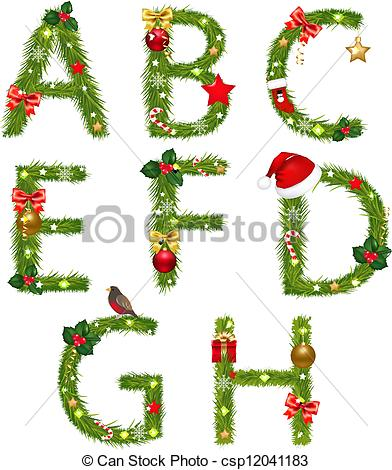 Christmas alphabet Clipart Vector and Illustration. 3,417.
