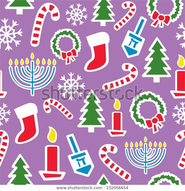 Seamless Pattern Christmas Hanukkah Shapes Icons Stock Vector.