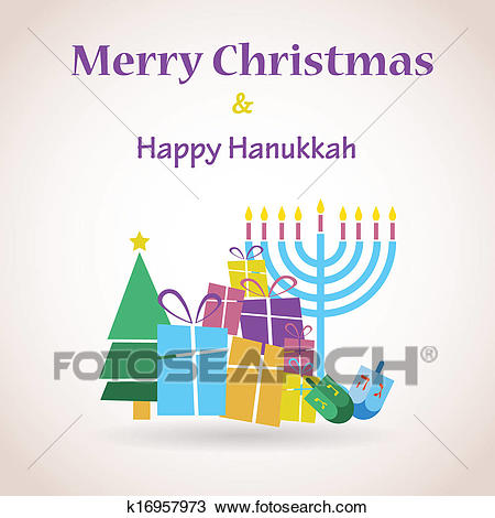 Happy Hanukkah and merry christmas Clipart.