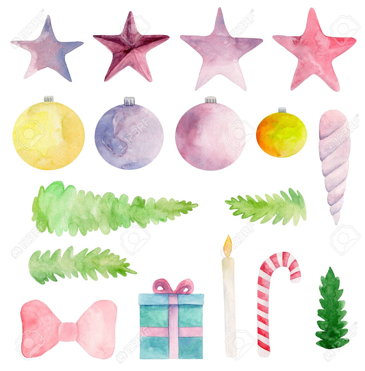 Watercolor Christmas clip art. New year clipart. Winter holiday...