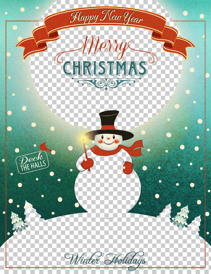 Christmas New Year\'s Day Poster, Retro Snowman PNG clipart.