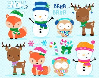 CHRISTMAS PENGUINS Digital Clipart Set Merry Christmas.