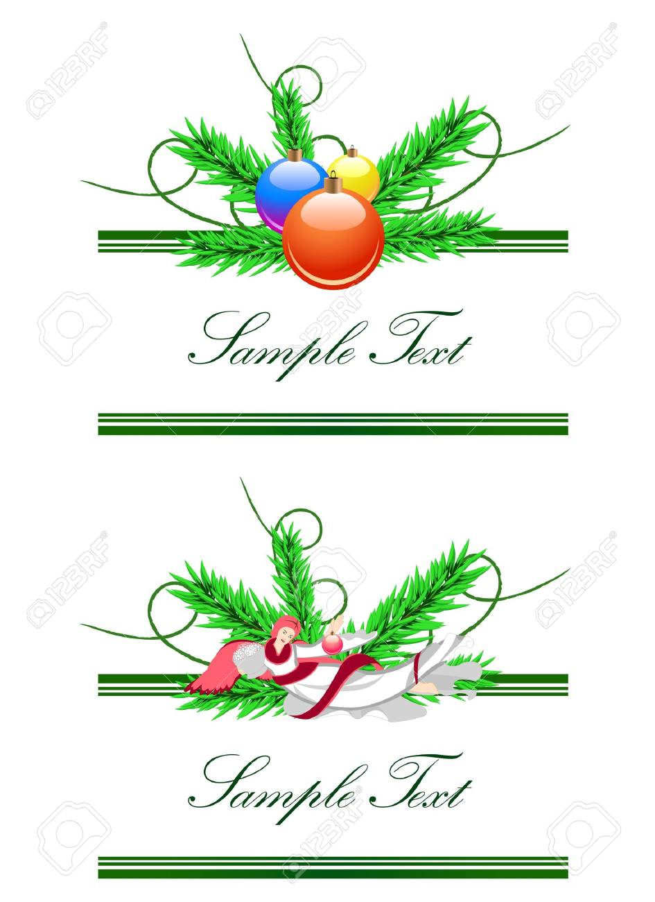 Vector horizontal borders from angel and christmas balls.