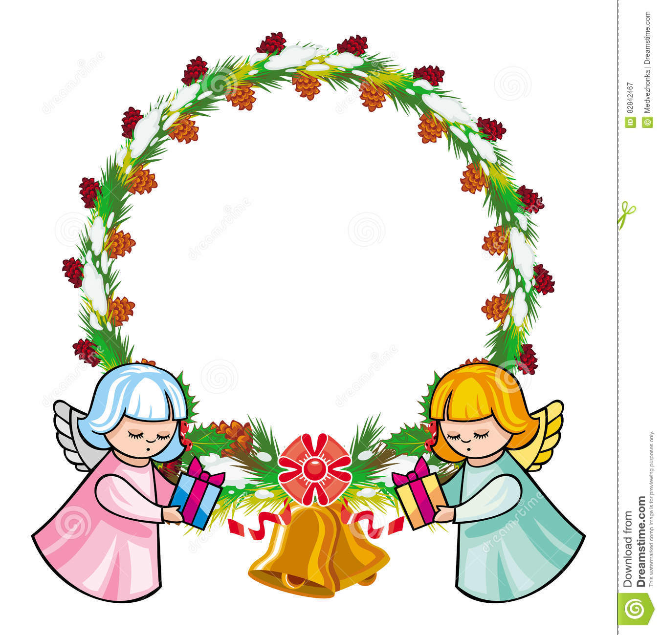 Round Holiday Garland With Ornaments And Angels Bring Presents.