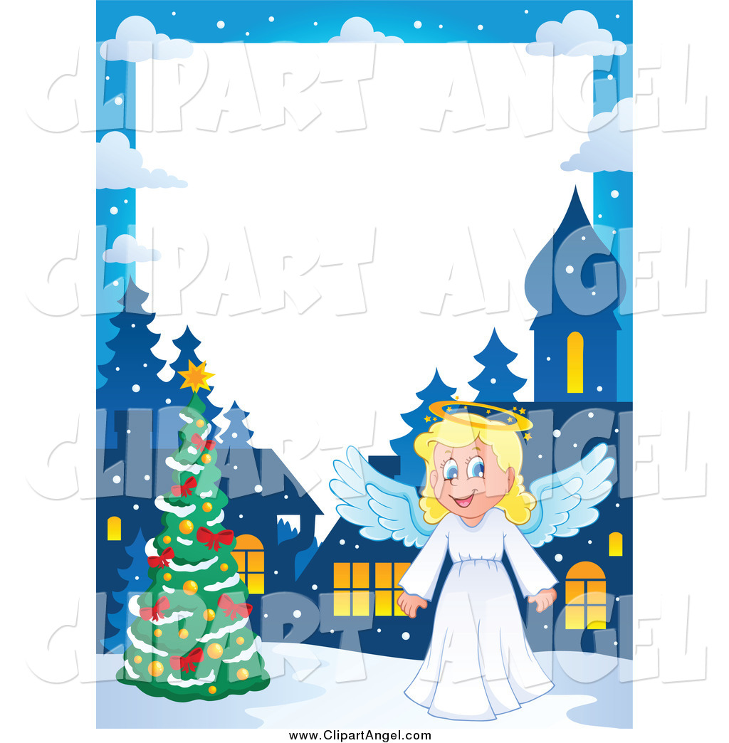 Illustration Vector Cartoon of a Christmas Angel Border with a Tree.