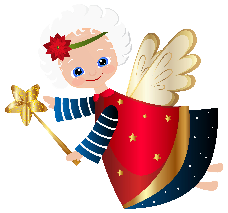 Cute Christmas Angel Transparent PNG Clip Art Image.