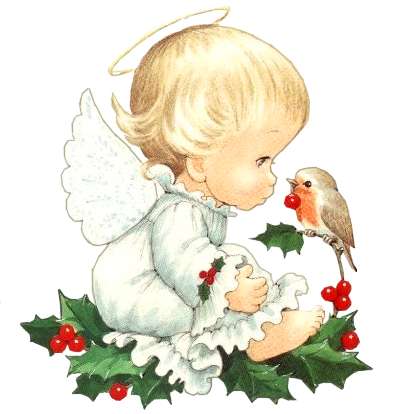 Cute Christmas Baby Angel with Bird Clipart.