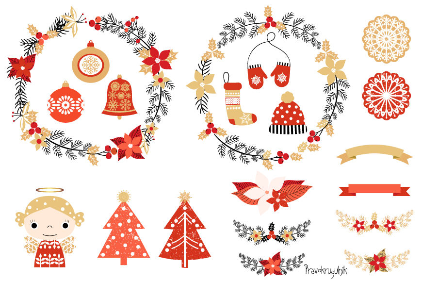 Cute Christmas clipart set, Christmas wreaths clipart, Angel, Tree.