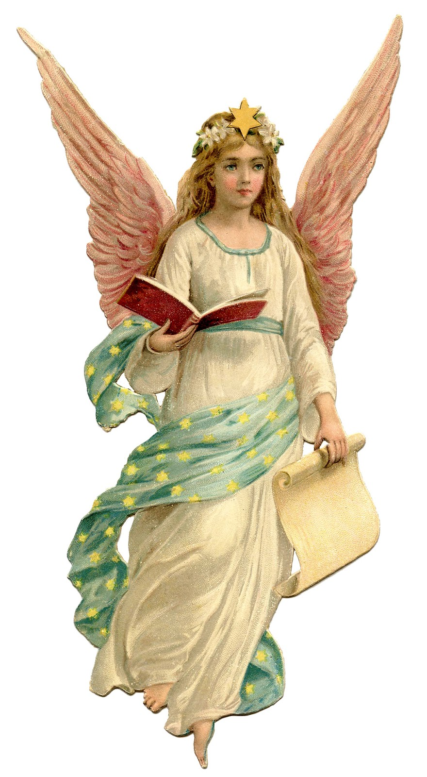 Free vintage christmas angels clip art.