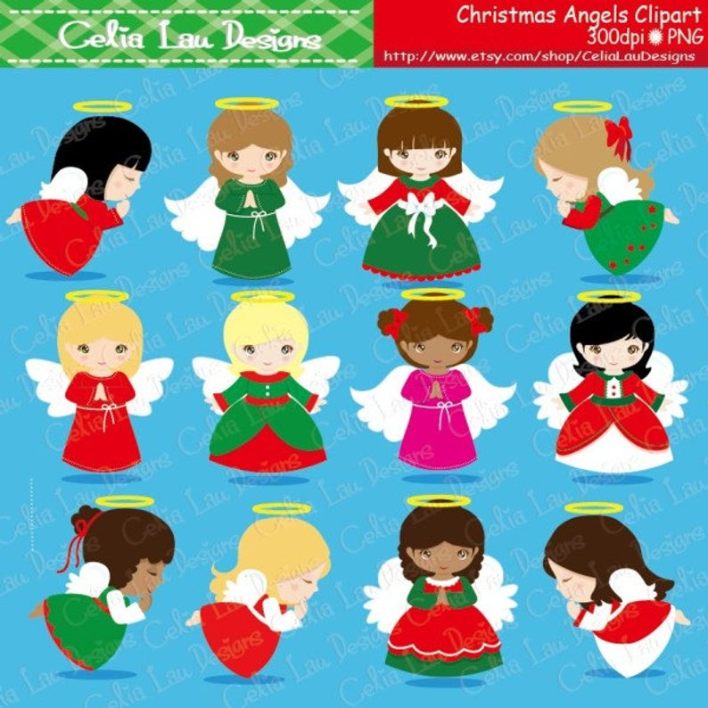 Christmas Angels Digital Clipart, Angel Clipart, Angel Clip Art, Christmas  Clipart, Holiday Clip Art.
