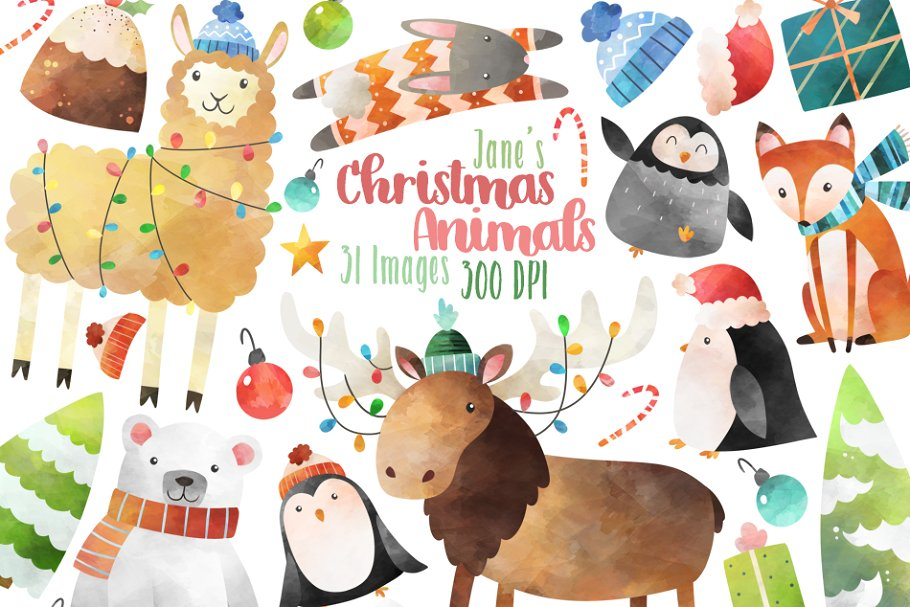 Watercolor Christmas Animals Clipart.