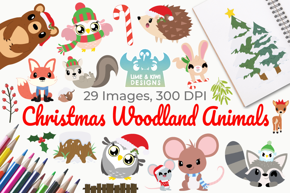 Christmas Woodland Animals Clipart, Instant Download.