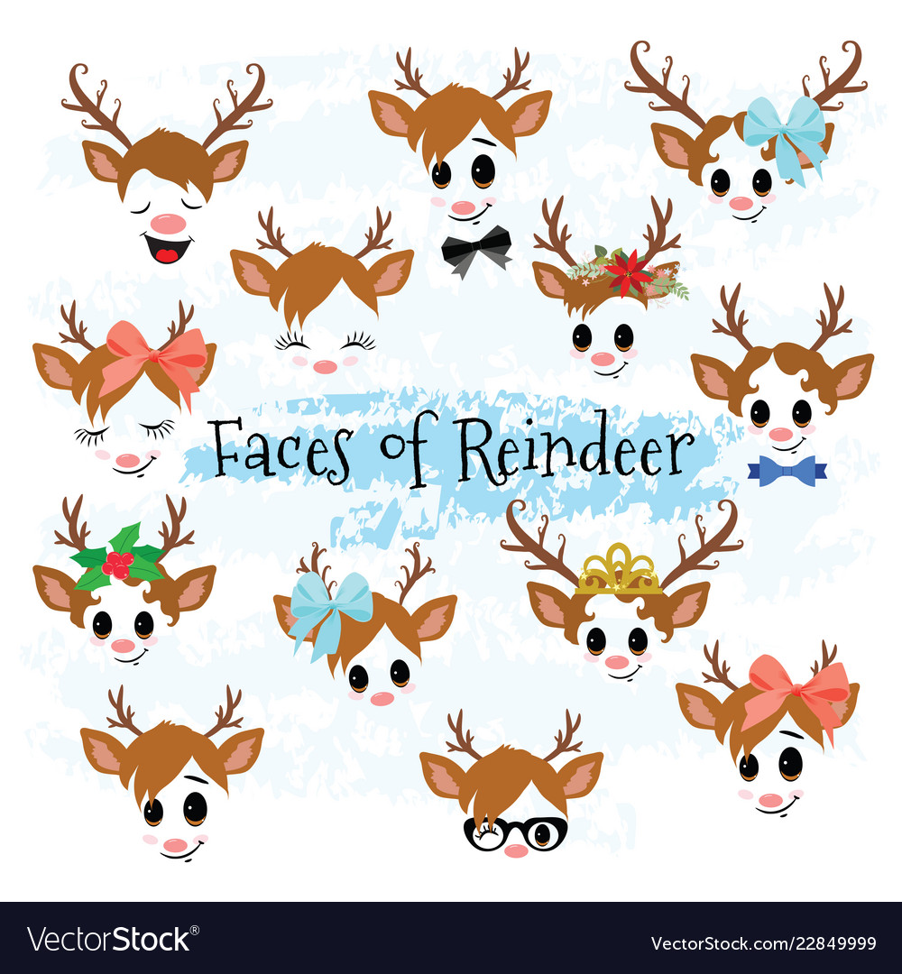 Christmas decor reindeer faces clipart.