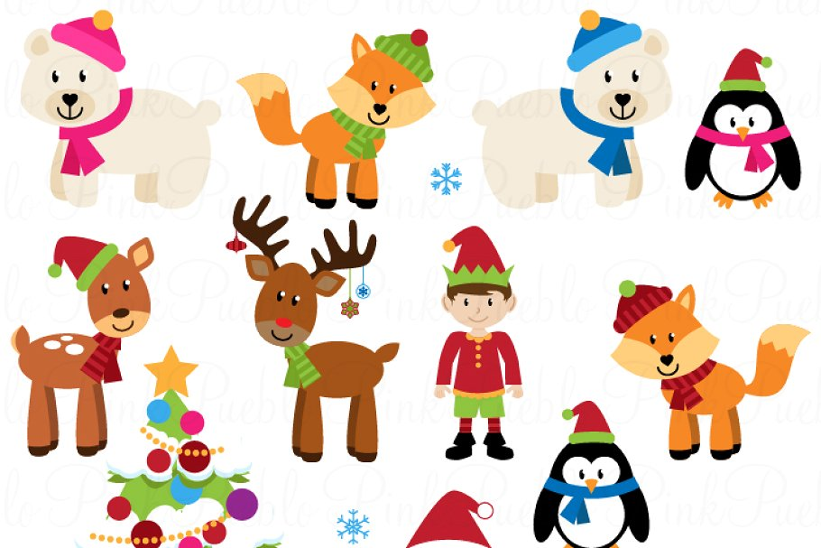 Christmas Animals Clipart & Vectors.