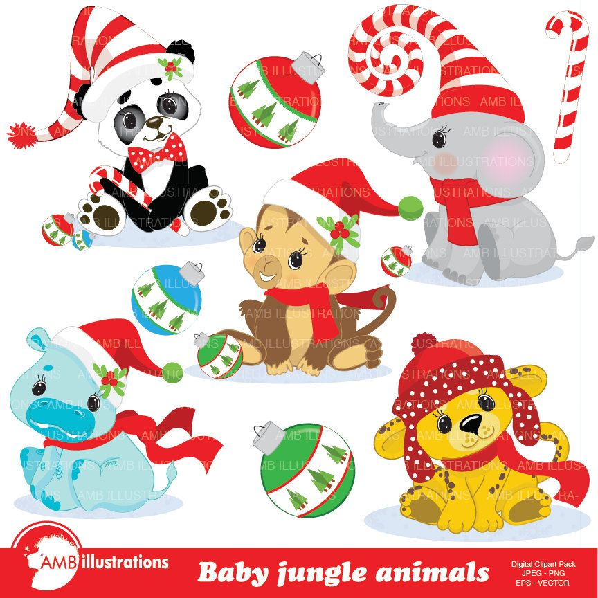 Christmas Jungle Animals Clipart, Baby Animal clipart, Christmas.