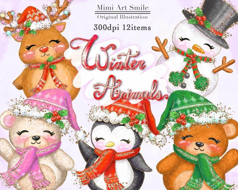 Winter Animals Clipart ,Christmas animal Clip Art Bear Penguin Reindeer  Snowman Woodland Glitter Cute Pretty Kawaii Planner PNG Downloadable.