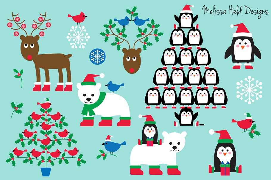 Christmas Animals & Trees Clipart.
